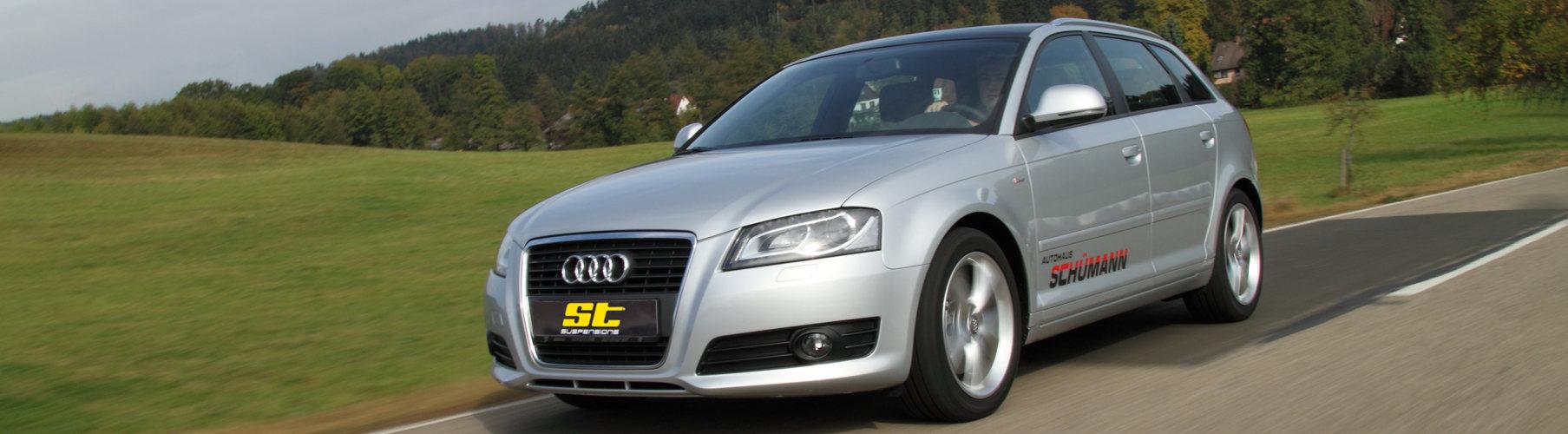 Ob für Audi A3 Sportback (Fünftürer), Audi A3 Cabriolet, Audi A3 (Dreitürer) und für den Audi S3 sind die ST Gewindefahrwerke und ST Distanzscheiben lieferbar.