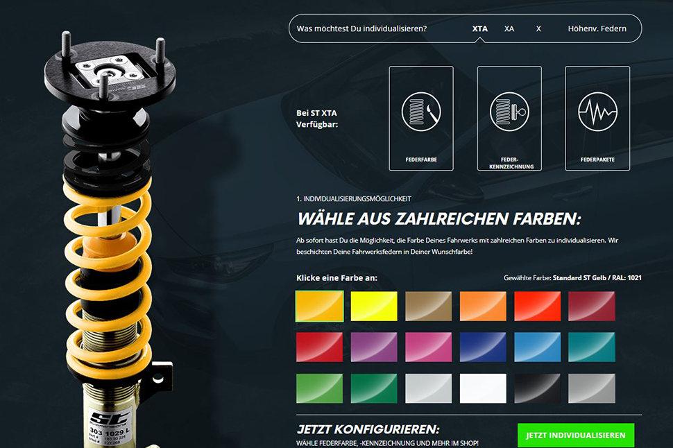Die ST Individualisierung in Form Deiner Wunschkennzeichnung und Federnfarbe kannst Du auch direkt bei jedem Kfz-Fachhändler bestellen, der unsere ST Gewindefahrwerke vertreibt.