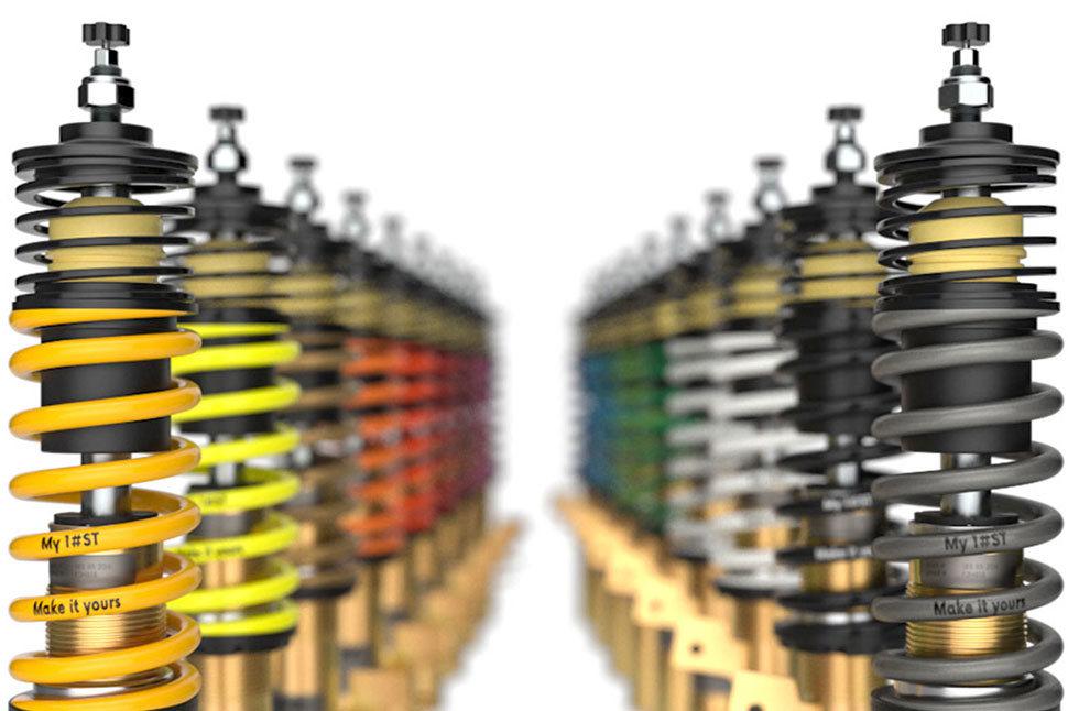 Durch die neue ST Individualisierung können die Hauptfedern der ST Gewindefahrwerke in verschiedenen Farben bestellt werden.