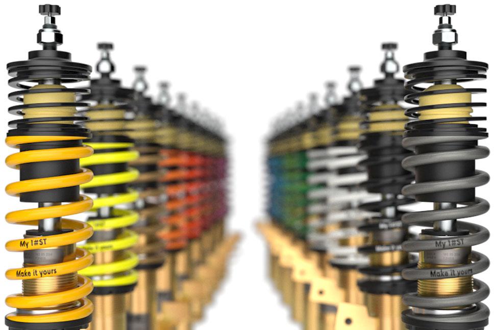 Durch die ST Individualisierung ist es möglich die Fahrwerkfedern mit einem bis zu 25 Zeichen langen Wort oder Text extra bei der Bestellung beschriften und in einer von 18 RAL-Farbtönen lackieren zu lassen.